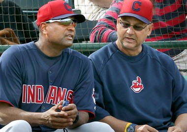 Sandy Alomar, left, is the bench coach for Cleveland Indians manager Terry Francona, right.