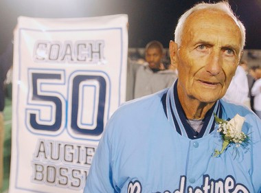 Augie Bossu in 2002, being honored for his 50 years at Benedictine. He was coaching freshman football at the time.