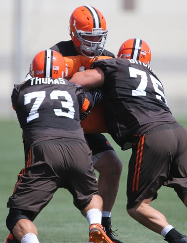 Joe Thomas and Joel Bitonio have worked well together on the left side of the offensive line.