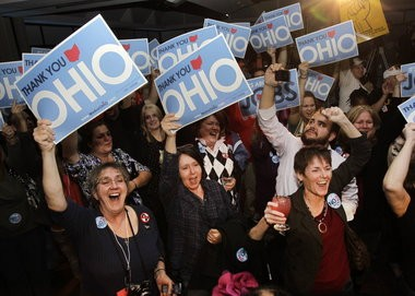 Opponents of Senate Bill 5 cheer its repeal in 2011 at an election night celebration in Cleveland. Democrats and labor groups used the century-old referendum process to overturn the legislation at the ballot.