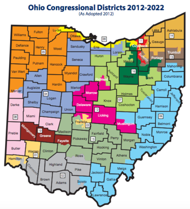 Ohio's congressional maps for 2012-2020.