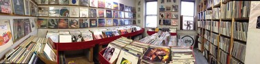 The LP-packed upstairs at the Philadelphia Record Exchange.