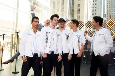 """Today"" host Matt Lauer photobombs the New Kids on the Block during their performance on the show last Friday. NKOTB -- from left, Danny Wood, Jordan Knight, Donnie Wahlberg, Joey McIntyre and Jonathan Knight -- headlines The Package Tour at The Q Sunday night. It's so called because the entire bill includes NKOTB, plus fellow boy banders 98 Degrees and Boyz II Men."