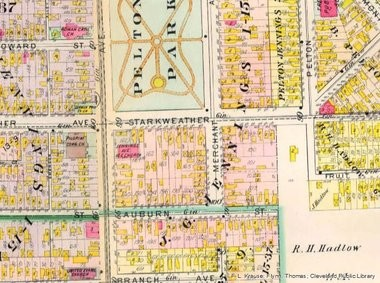 An 1898 map of Cleveland's Tremont neighborhood shows Zion, then labeled as the United Evangelical Church, in the lower lefthand corner. The congregation has changed its name several times over 150 years.