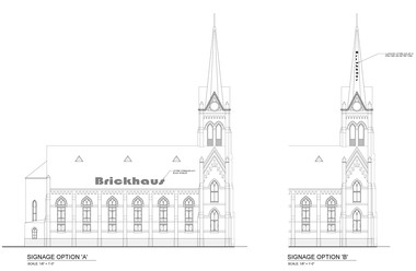The Cleveland Landmarks Commission will not allow the developers to put large-scale lettering on the church's roof or steeple.