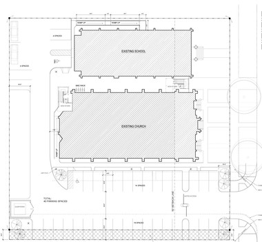 A site plan shows the proposed layout of the Zion property as an apartment complex, with a reconfigured parking lot behind the buildings.