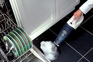 The DirtTamer Ultima can be used to clean up wet or dry messes throughout a rental space.