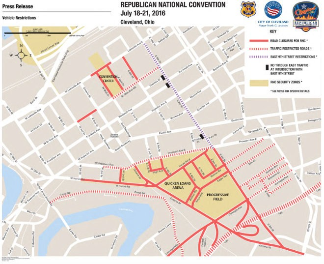 "This map, released by the U.S. Secret Service, shows the locations of ""hard"" security zones during the Republican National Convention, as well as traffic changes that will take effect during the Republican National Convention."