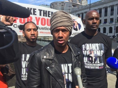 TV personality Nick Cannon at a Black Lives Matter rally in Cleveland, July 18, 2016.