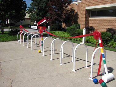 Rocky River's new croquet inspired bicycle rack outside the civic center.