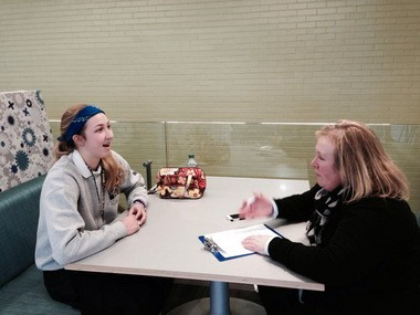 Meredith Kitzel, left, president of the Animal Lovers Club at Magnificat High School in Rocky River, and club moderator Karen Uthe Semancik both hope the club can bring back certified therapy dogs before exams in the spring.