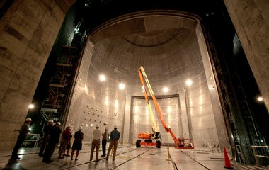 The 12-story tall vacuum chamber at NASA's Plum Brook testing station, the biggest in the world (ahem, Texas), exposes spacecraft to the airless conditions, heat and cold of space.
