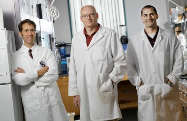 """In a bit of scientific """"bio-mimicry"""" that may produce better prosthetic limbs, among other things, researchers (from left) Paul Marasco of the Louis Stokes Cleveland VA Medical Center, and Stuart Rowan and Jeffrey Capadona of Case Western Reserve University, have figured out how to duplicate squids' ability to merge very hard and very soft materials."""