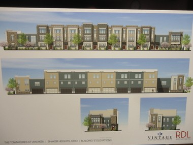 """Some of the early renderings of the Van Aken Townhomes proposed on the city-owned """"Crescent"""" property in Transit Village were presented at the May 3 meeting of the Shaker Heights Planning Commission."""