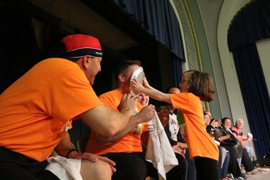 Roxboro Elementary School students celebrated their first-place finish in the Jump Rope for Heart Campaign May 5 with an assembly at which a student enjoyed the opportunity to put a pie in the face of Principal Michael Jenkins.