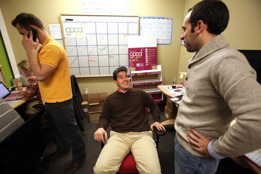 """Todd Goldstein, right, talks Jason Zuchowski, center, sales director of a business called """"Good Greens"""" called LaunchHouse in Shaker Heights on Dec. 20, 2011. LaunchHouse is a business incubator, trying to create a start-up culture for businesses."""