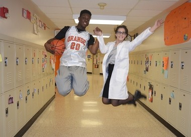 """Marvin Davies, left and Brooke Singer, in the Brady Middle School's production of """"High School Musical."""""""