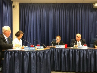 Among those present at Solon's Board of Education meeting on Monday night were (left to right) Schools Superintendent Joseph Regano, Assistant Superintendent for Curriculum and Instruction Deborah Siegel and board members Marilyn Thomas and John Heckman.