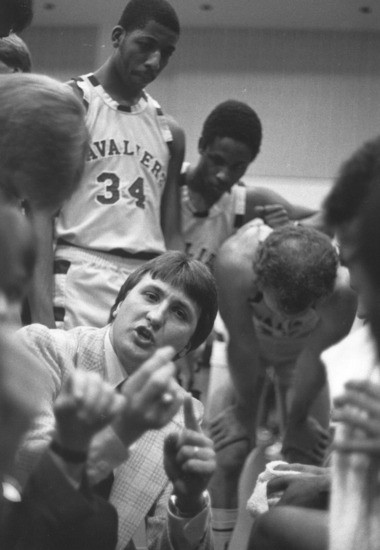 Bob Huggins makes a point on the sideline while coaching Walsh, in North Canton, in the early 1980s. Walsh was his first head coaching job.
