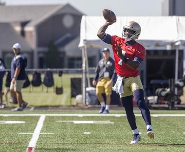 Notre Dame's Brandon Wimbush throws a passThe Notre Dame football team began their 2018 season on Friday, Aug. 3, 2018, in Culver, Ind. (Santiago Flores/South Bend Tribune via AP)