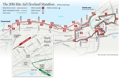 The 2016 Rite Aid Cleveland Marathon course maintains its West Side focus, but goes a little farther east this year and has several route changes in Tremont and on the West SIde. (Bill Neff/The Plain Dealer