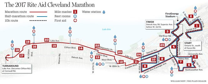 The 2017 Cleveland Marathon course. Click on map for enlarged version