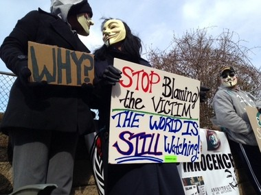 Protesters outside the Jefferson County Juvenile Justice Center today, the first day of the Steubenville rape trial.