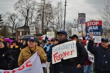 Union workers rallied April 12 to show solidarity with Strongsville teachers, who have been on strike since March 4.