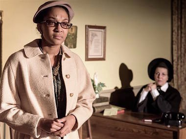 Mrs. Muller (Tamaicka Scruggs) stands firm on her son's behalf with Sister Aloysius (Carla Petroski).