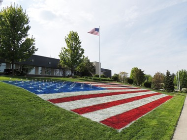 In recent years, Beachwood City Hall has been decked out for the Memorial Day observance with a 60-foot American flag painted on the lawn across from the Richmond Road fire station.