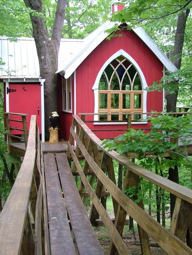 """A 40-foot suspension bridge leads visitors to the Treehouse Brewing Co., which will be featured on Animal Planet's """"Treehouse Masters"""" this month. The treehouse, in Ohio's Mohican region, should be available for overnight stays later this year."""