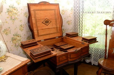 The Harding Home is filled with items original to the house and the Hardings, including this cigar humidor, a gift to the president from the people of Cuba.