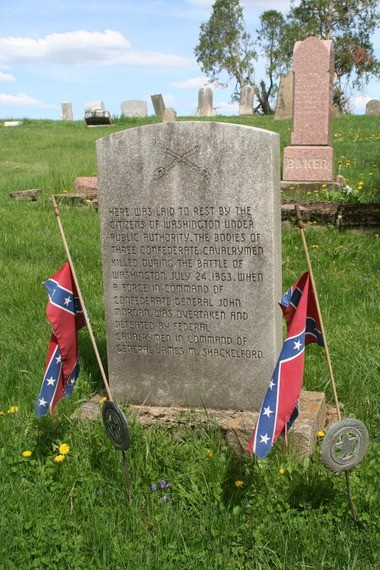 A gravestone in Old Washington, east of Cambridge, marks the final resting place of three Confederate soldiers who participated in Morganâs Raid.
