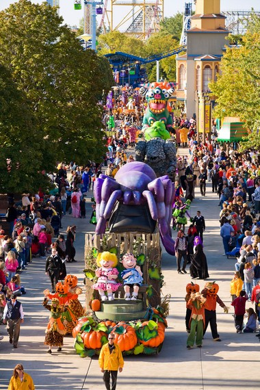 A Halloween parade marches down the Cedar Point midway every Saturday and Sunday afternoon, part of the park's annual HalloWeekends event.