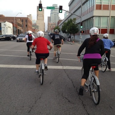 Early morning bikers hit the streets of Kansas City on a tour organized by B-cycle.