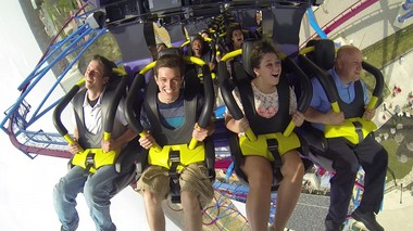 What me, scared? Not these riders, among the first to enjoy Kings Island's new record-breaking roller coaster, Banshee.