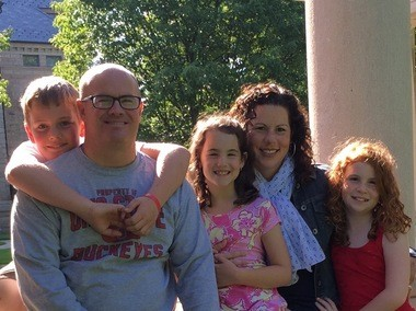 The Holmes family was very disappointed to learn that cousin Aimee Schneider couldn't visit them in Vermilion. From left: Gabriel, Brian, Suzanna, Aimee and Eliza.