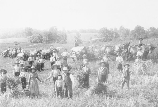 In this 1880s photo, members of the Society of Separatists of Zoar are shown harvesting crops in a field located at the northeast end of Zoar village. (Photo courtesy Ohio History Connection)