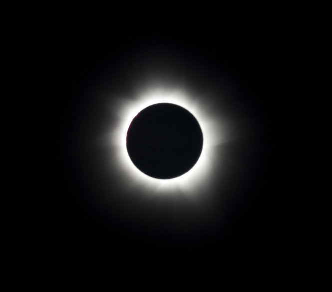 Total solar eclipse of the sun. This image was taken on November 14, 2012, from the coast of Queensland Australia.