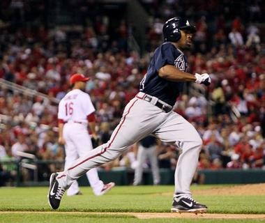 Michael Bourn had a .348 on-base percentage and stole 42 bases for Atlanta in 2012.
