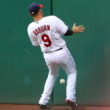 Ryan Raburn wasn't given an error as the ball bounced away from him on Mike Napoli's triple on Thursday, but the misplay reflects the Indians' defensive struggles early in the 2013 season.