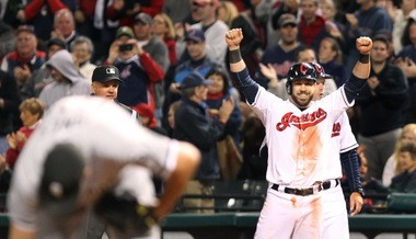 Jason Kipnis only thought he was really happy when his RBI single in the seventh gave the Indians a 3-2 lead over Chicago Tuesday night at Progressive Field. Two innings later, he was jumping on Jason Giambi's back after Giambi's game-winning two-run homer.