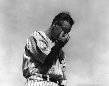 """Yankees first baseman Lou Gehrig, the """"Iron Horse,"""" wipes away a tear during his farewell at Yankee Stadium on July 4, 1939. Former Indians slugger Al Rosen said the story of Gehrig's career played an ironic role in shortening his own career."""