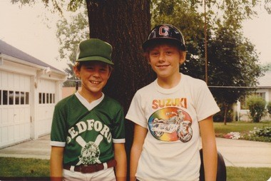 Stephen Reich, left, played little league baseball in Bedford, Ohio.