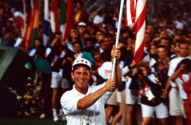 Stephen Reich carries the American flag at the World University Games in Buffalo, N.Y., in 1993.