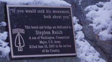 The plaque on the bench dedicated to Stephen in Steep Rock.