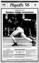 Plain Dealer coverage of Game 2 of the 1995 American League Championship Series.