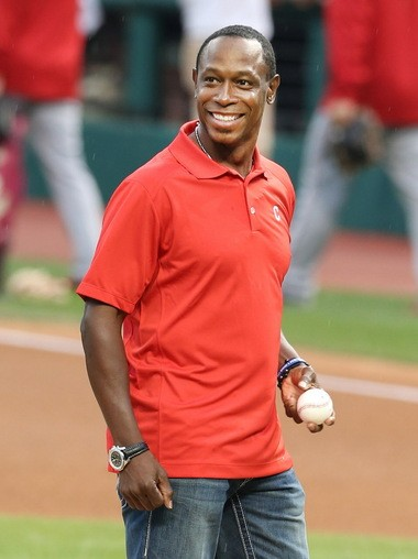 Former Cleveland Indians center fielder Kenny Lofton threw out a ceremonial first pitch before the game against the Los Angeles Angels on August 28, 2015 at Progressive Field.