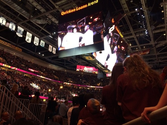 Cavaliers fans watch their team accept their championship rings Tuesday night at The Q.