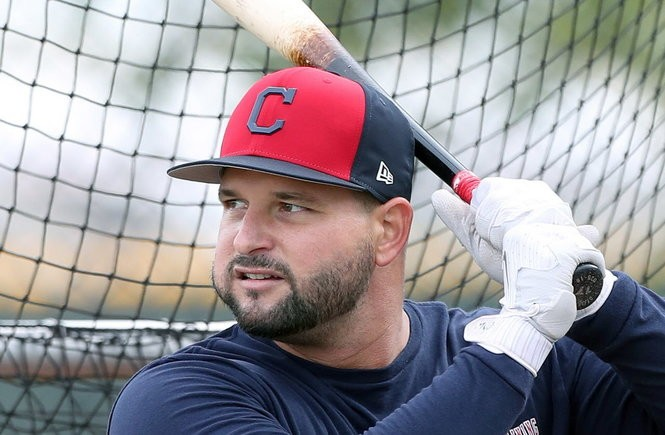 Cleveland Indians Yonder Alonso during batting practice.